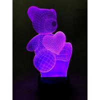 Ночник светодиодный голограмма CADENA Мишка, 7 цветов, 3DBear