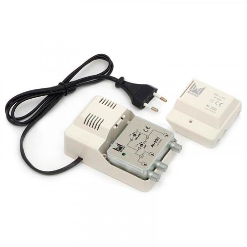Усилитель Alcad AL-200 (47-862 MHz регул VHF/UHF 2*104 дБмкВ)