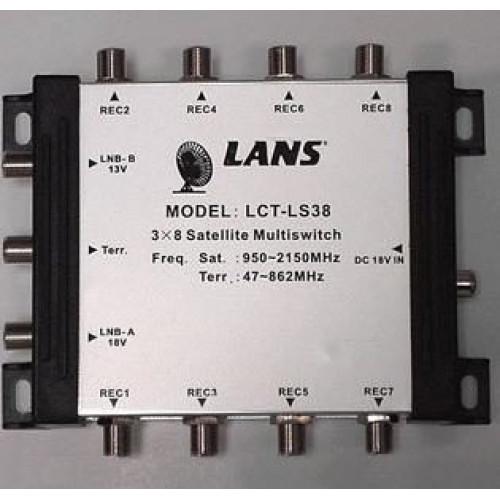 Мультисвитч Lans-38 оконечный (3*8, 13/18, входы: 1TV+2SAT, 8 выходов)