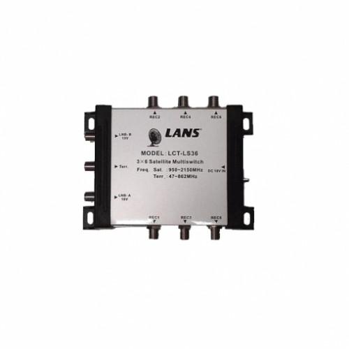 Мультисвитч Lans-36 оконечный (3*6, 13/18, входы: 1TV+2SAT, 6 выходов)